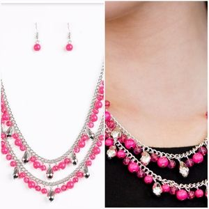 MARDI GRAS GLAMOUR PINK NECKLACE/EARRING SET
